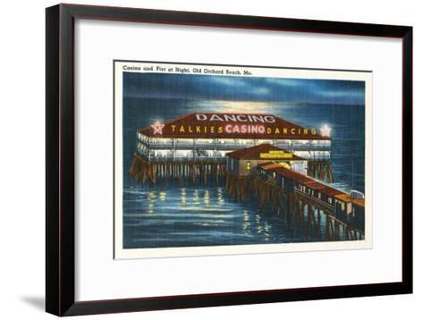 Pier at Night, Old Orchard Beach, Maine--Framed Art Print
