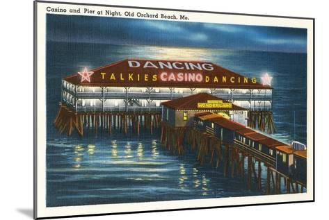 Pier at Night, Old Orchard Beach, Maine--Mounted Art Print