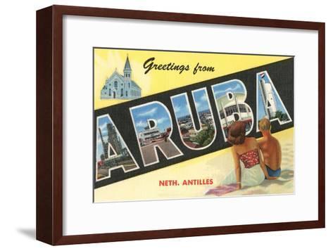 Greetings from Aruba, Netherland Antilles--Framed Art Print