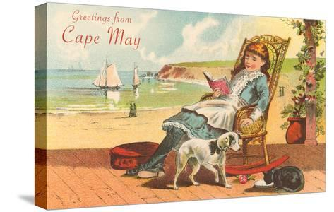 Greetings from Cape May, New Jersey, Girl on Porch--Stretched Canvas Print