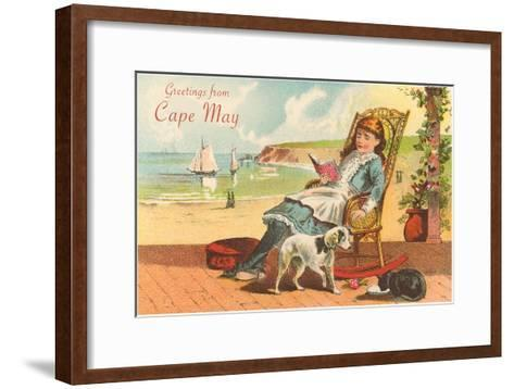Greetings from Cape May, New Jersey, Girl on Porch--Framed Art Print