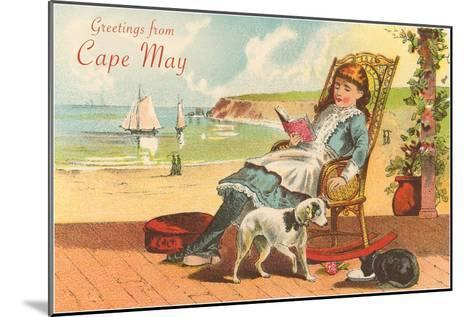 Greetings from Cape May, New Jersey, Girl on Porch--Mounted Art Print