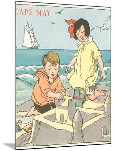 Children Building Sand Castle, Cape May, New Jersey--Mounted Art Print
