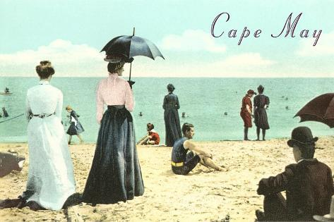 Vintage Beach Scene, Cape May, New Jersey--Stretched Canvas Print