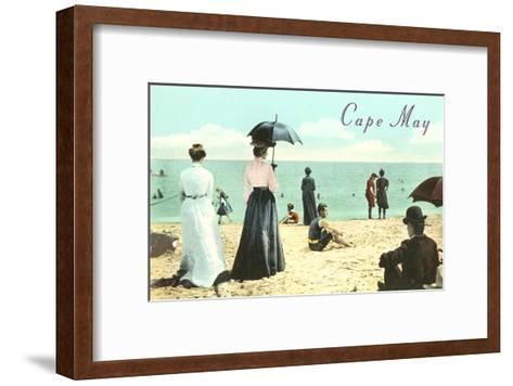 Vintage Beach Scene, Cape May, New Jersey--Framed Art Print