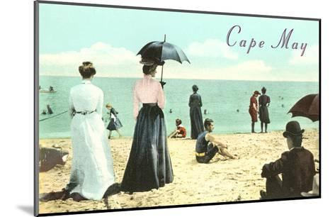 Vintage Beach Scene, Cape May, New Jersey--Mounted Art Print