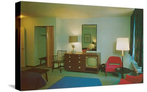 Motel Room with Blue Bedspread--Stretched Canvas Print
