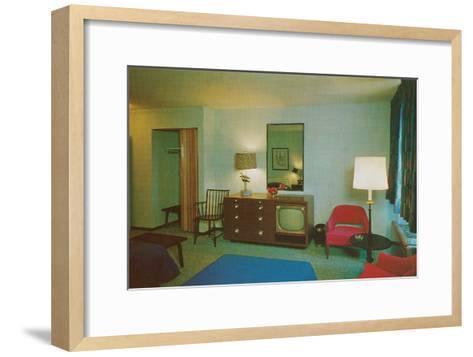 Motel Room with Blue Bedspread--Framed Art Print