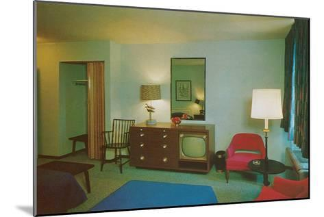 Motel Room with Blue Bedspread--Mounted Art Print
