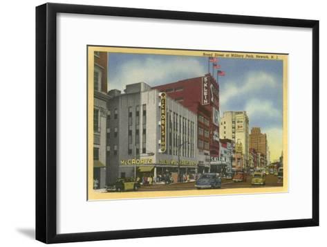Broad Street at Military Park, Newark, New Jersey--Framed Art Print