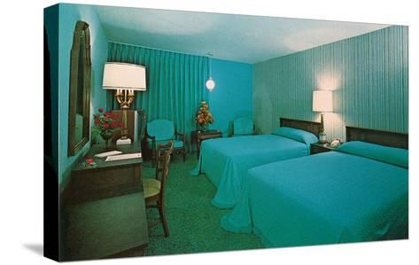 Turquoise Blue Motel Room--Stretched Canvas Print