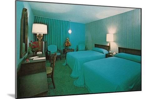 Turquoise Blue Motel Room--Mounted Art Print