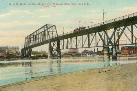Bridge over Missouri, Omaha, Nebraska--Stretched Canvas Print