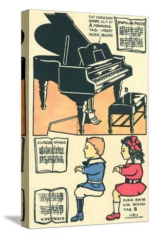 Cut-Out Model of Children Playing Piano--Stretched Canvas Print