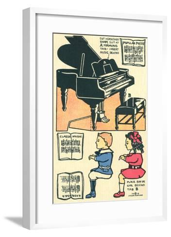 Cut-Out Model of Children Playing Piano--Framed Art Print