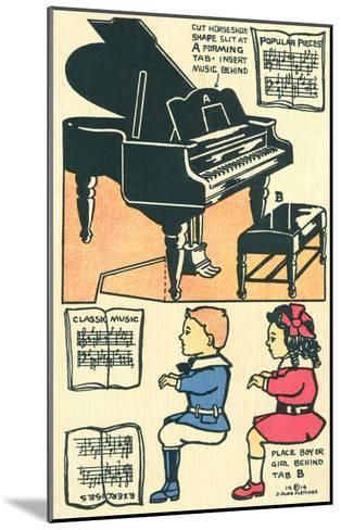 Cut-Out Model of Children Playing Piano--Mounted Art Print