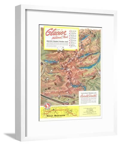 Map of Glacier National Park, Montana--Framed Art Print