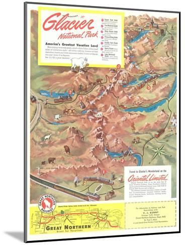 Map of Glacier National Park, Montana--Mounted Art Print