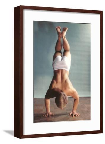 Man Doing Handstand in Underwear--Framed Art Print