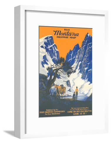 Montana Highway Map--Framed Art Print