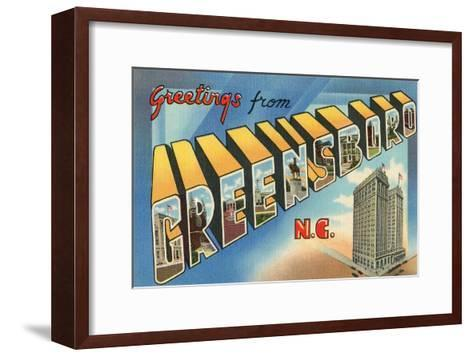 Greetings from Greensboro, North Carolina--Framed Art Print