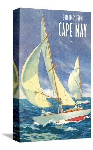 Greetings from Cape May, New Jersey, Sailboats--Stretched Canvas Print