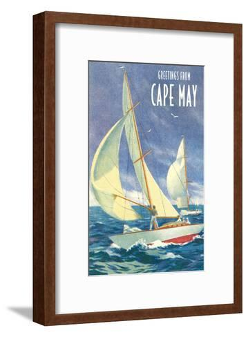 Greetings from Cape May, New Jersey, Sailboats--Framed Art Print