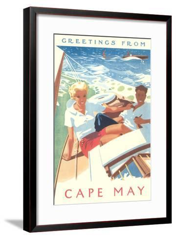 Greetings from Cape May, New Jersey, Sailing--Framed Art Print