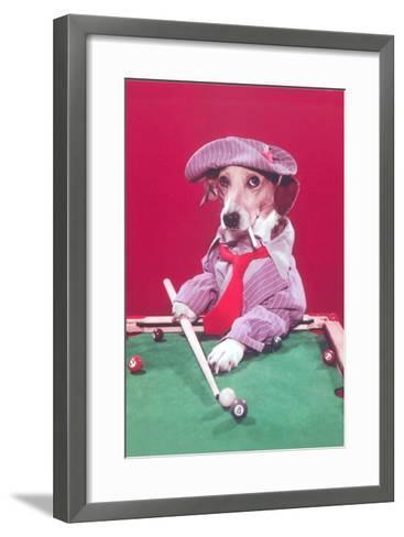 Dog Pool Shark--Framed Art Print