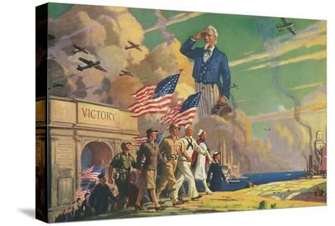 Uncle Sam Saluting Soldiers and Sailors--Stretched Canvas Print