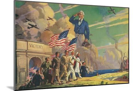 Uncle Sam Saluting Soldiers and Sailors--Mounted Art Print