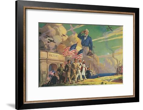 Uncle Sam Saluting Soldiers and Sailors--Framed Art Print