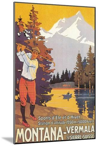 Golfing in the Swiss Alps--Mounted Art Print