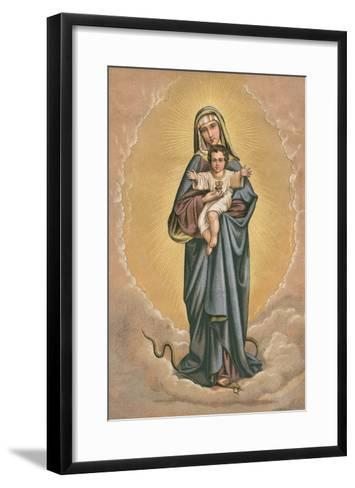 Virgin Mary and Jesus Treading on Snake--Framed Art Print