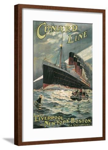 Vintage Travel Poster for Cunard Lines--Framed Art Print