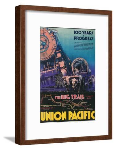 Covered Wagon, Locomotive--Framed Art Print
