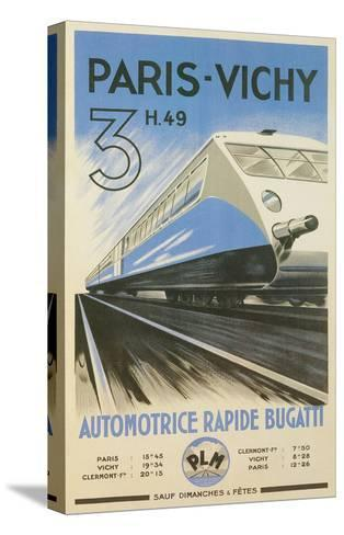 Paris to Vichy Train Poster--Stretched Canvas Print