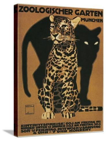 Leopard and Panther, Munich Zoo--Stretched Canvas Print
