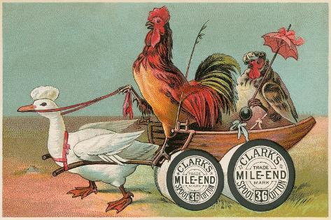 Chicken Wagon Pulled by Duck--Stretched Canvas Print