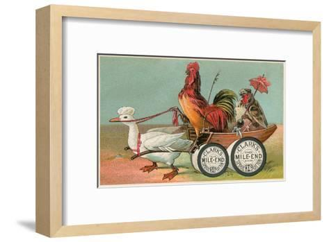 Chicken Wagon Pulled by Duck--Framed Art Print