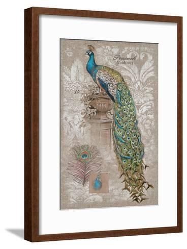 Peacock on Linen 2-Chad Barrett-Framed Art Print