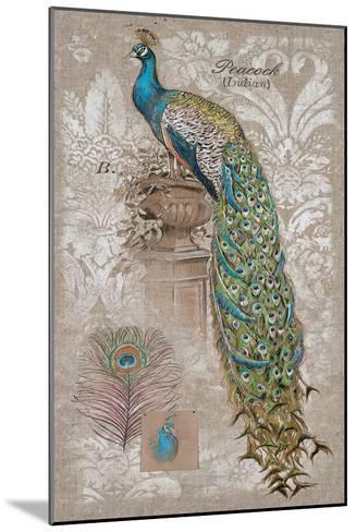 Peacock on Linen 2-Chad Barrett-Mounted Art Print