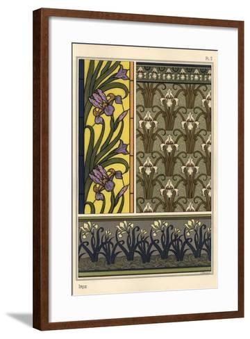 The Iris in Various Patterns for Stained Glass, Wallpaper and Fabrics--Framed Art Print