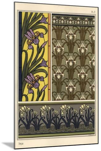 The Iris in Various Patterns for Stained Glass, Wallpaper and Fabrics--Mounted Giclee Print