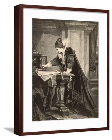 Elizabeth I Signs the Death Sentence of Maria Stuart--Framed Art Print