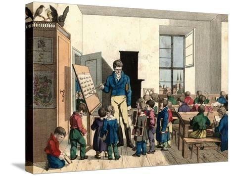 The School-Johann Michael Voltz-Stretched Canvas Print