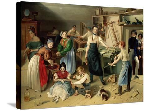 Die Fleißige Tischlerfamilie (The Diligent Carpenter Family)-Johann Baptist Reiter-Stretched Canvas Print