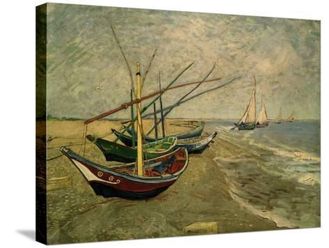 Fishing Boats on the Beach at Saintes-Marie-de-la-Mer, around June 5, 1888-Vincent van Gogh-Stretched Canvas Print