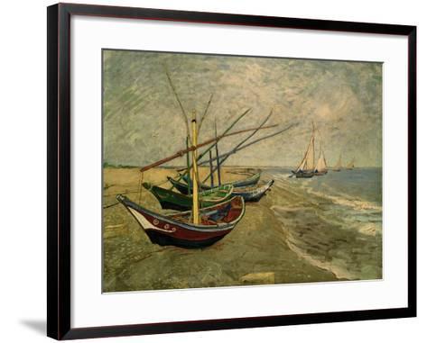 Fishing Boats on the Beach at Saintes-Marie-de-la-Mer, around June 5, 1888-Vincent van Gogh-Framed Art Print