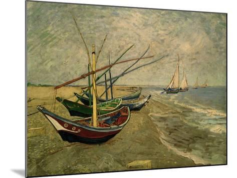 Fishing Boats on the Beach at Saintes-Marie-de-la-Mer, around June 5, 1888-Vincent van Gogh-Mounted Giclee Print